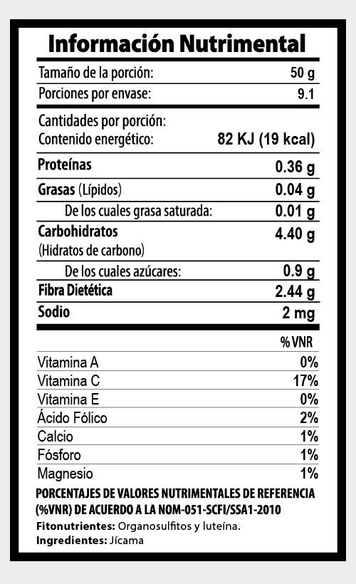 jicama botana tabla nutrimental vegetalistos