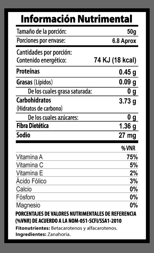 zanahoria rallada botana tabla nutrimental vegetalistos