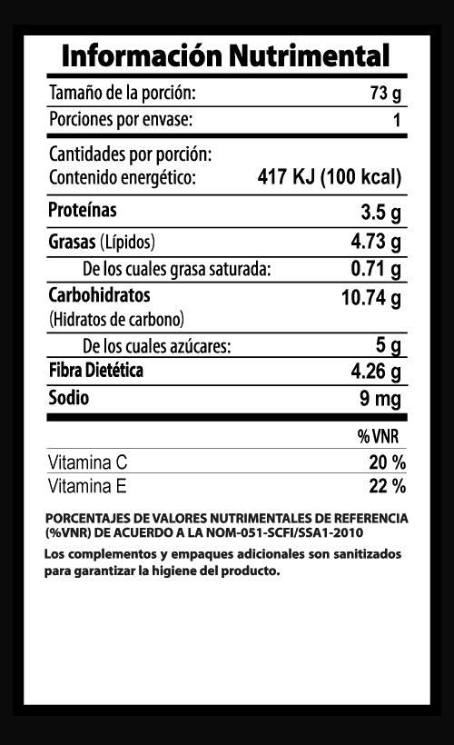 jicama vegibite tabla nutrimental vegetalistos