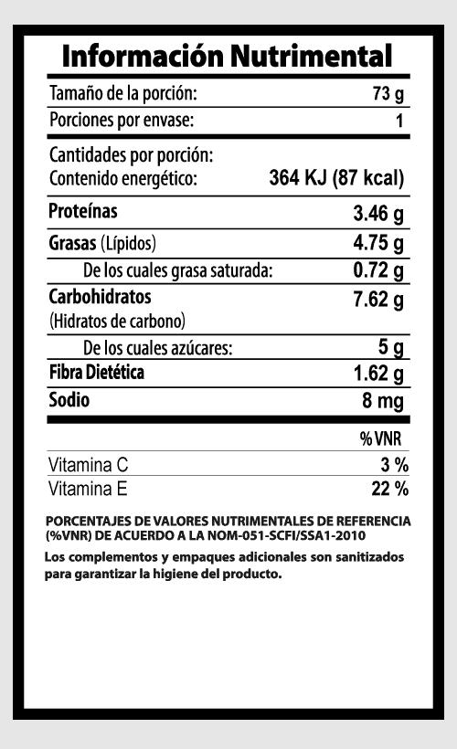 pepino baby vegibite tabla nutrimental vegetalistos