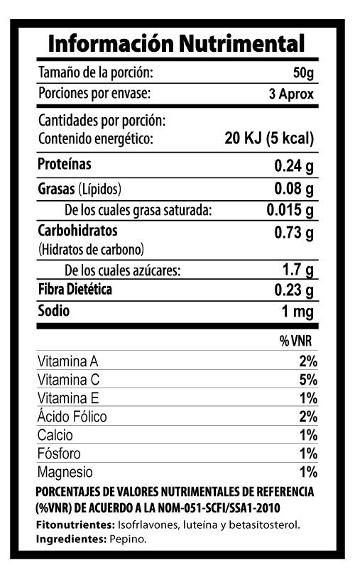 pepino botana tabla nutrimental vegetalistos