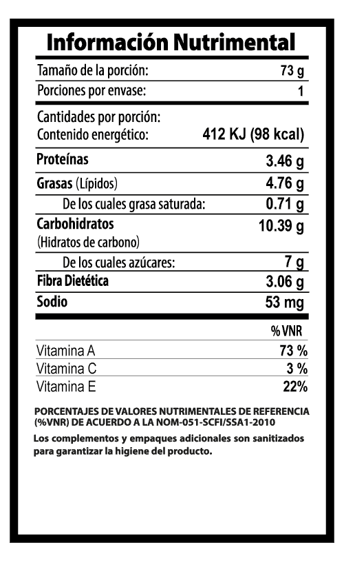zanahoria baby vegibite tabla nutrimental vegetalistos