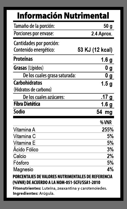 arugula hojas tabla nutrimental vegetalistos