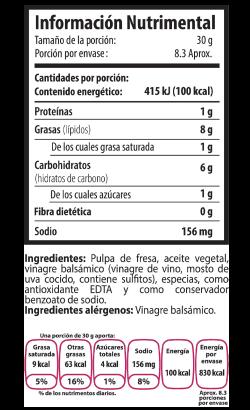 Tabla Nutrimental fresa