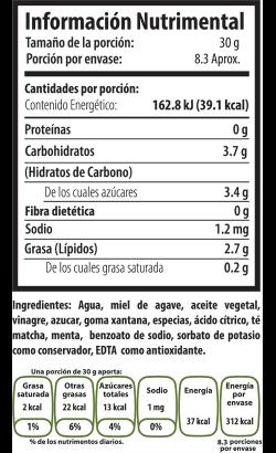 Tabla Nutrimental matcha