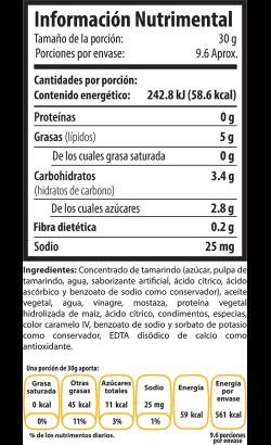 Tabla Nutrimental tamarindo