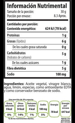 Tabla Nutrimental vinagretalimon